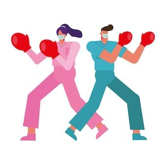 Couple de médecins professionnels portant des masques médicaux avec illustration de gants de boxe