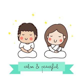 Un couple méditant en tenue blanche