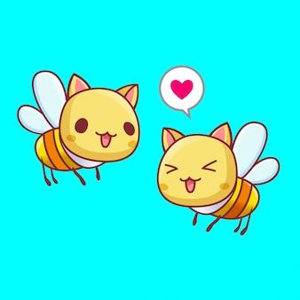 Couple mignon abeille en vecteur de l'amour