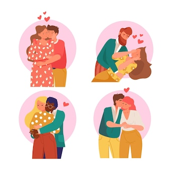 Couple mignon dessiné à la main embrassant