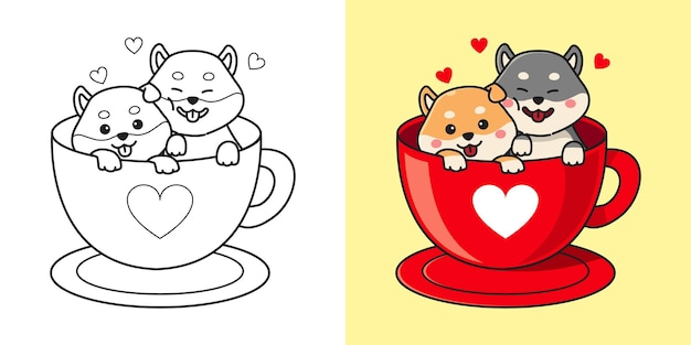 Couple mignon shiba inu dans une tasse de café. clipart de la saint-valentin. coloriage pour enfants. caricature de style plat.