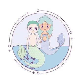 Couple mignon sirènes avec mer dans cadre circulaire