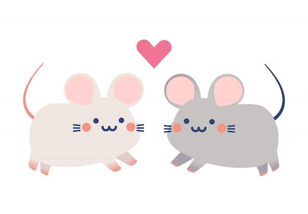 Couple mignon vecteur de petits rats