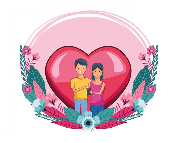 Couple millénaire en dessin animé cadre coeur