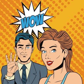 Couple de mode avec bulle de parler pop art dessin animé coloré