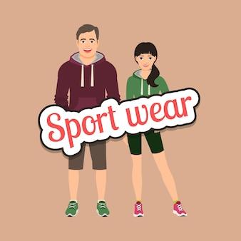 Couple de mode en vêtements de style sport