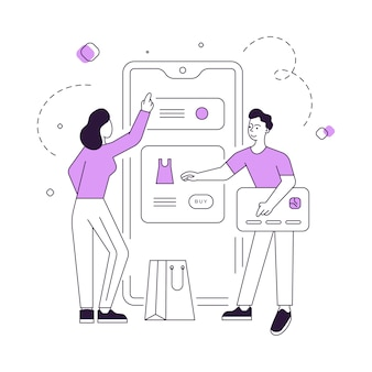 Couple moderne choisissant et achetant des vêtements en ligne