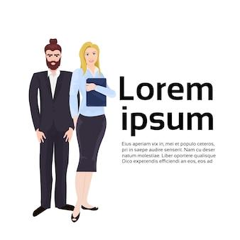 Couple moderne de gens d'affaires, homme d'affaires et femme d'affaires en costumes élégants. modèle de texte