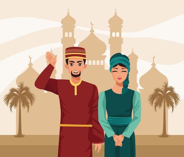 Couple musulman dans la mosquée