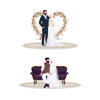 Couple musulman le jour du mariage jeu de caractères sans visage couleur plat. décoration florale. nouvellement marié dans un spot photo. illustration de dessin animé de mariage isolé pour la conception graphique web et la collection d'animation