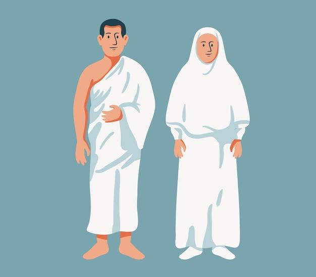 Un couple musulman porte des vêtements de pèlerinage
