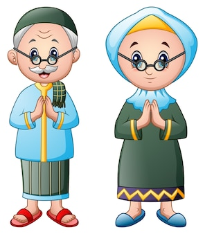 Couple musulman salutation dessin animé isolé sur fond blanc
