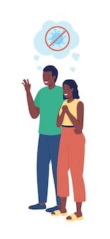 Couple n'ayant pas peur du caractère vectoriel de couleur semi-plat covid chiffres des parents