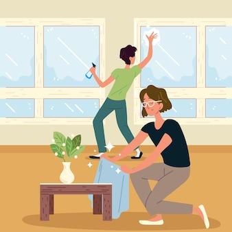 Couple de nettoyage à la maison