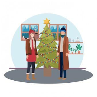 Couple, noël, arbre, dans, living