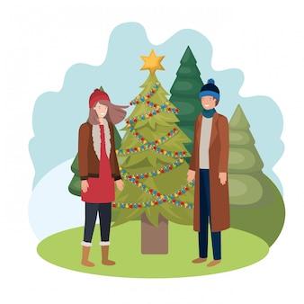 Couple, noël, arbre, paysage