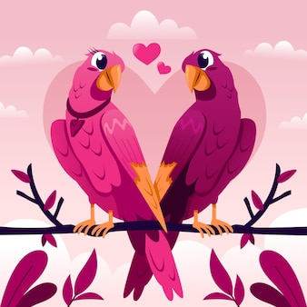 Couple d'oiseaux d'amour mignon saint valentin
