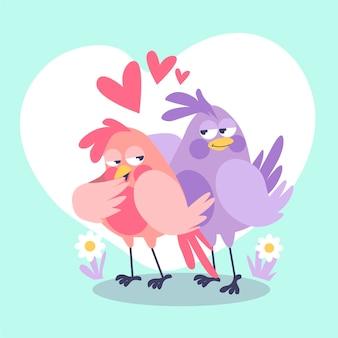 Couple d'oiseaux mignon illustré