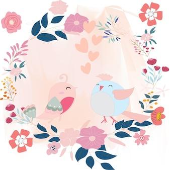 Couple d'oiseaux mignons dans le cadre de la fleur