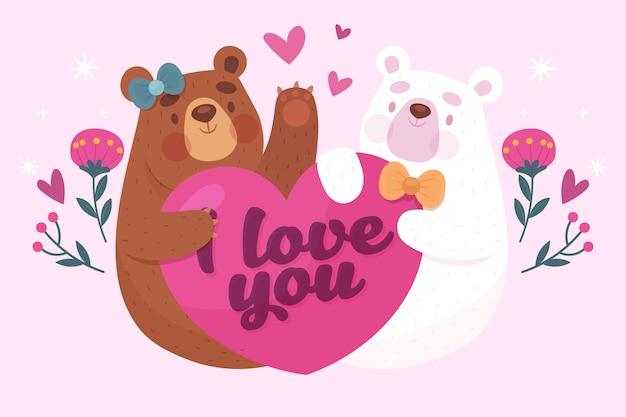 Couple d'ours dessinés à la main saint valentin