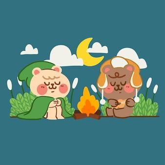Couple d'ours doux camping dans la forêt doodle