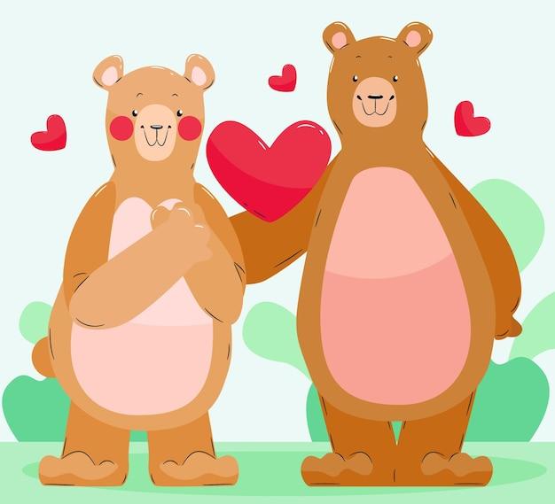 Couple d'ours mignon illustré