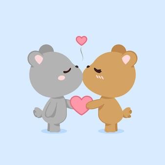 Couple d'ours mignon saint valentin
