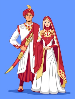 Couple pakistanais avec une robe traditionnelle marron et or