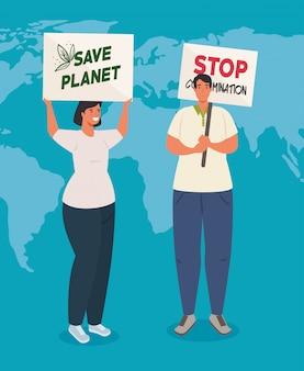 Couple avec des pancartes de protestations, sauver la planète et arrêter la contamination, militants avec signe de manifestation de grève, concept de droit de l'homme