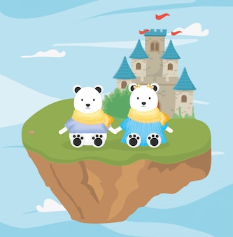 Couple panda et château conte de fées fantastique
