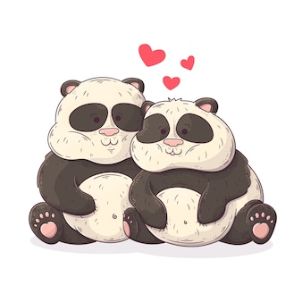 Couple de panda mignon saint valentin