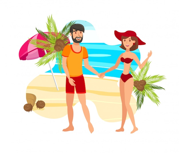 Couple, paradis, île, plat, illustration couleur