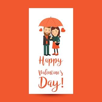 Couple avec parapluie dépliant saint valentin