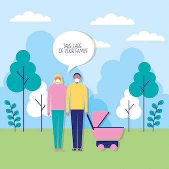 Couple de parents à l'aide de masques avec illustration de chariot de bébé