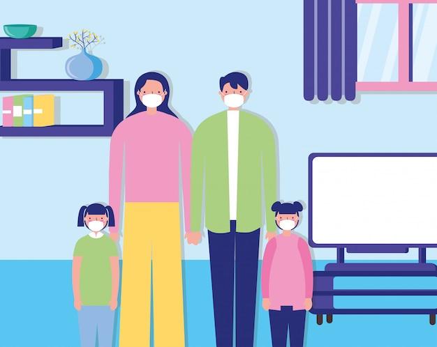 Couple de parents avec des enfants à l'aide d'illustration de masques