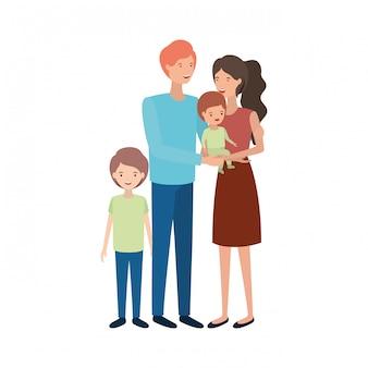 Couple de parents avec enfants personnage avatar