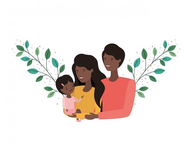 Couple de parents avec fille avatar charactar