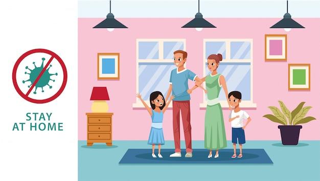 Couple de parents avec fils et fille reste à la campagne à domicile