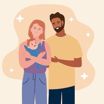 Couple de parents avec nouveau-né