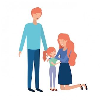 Couple de parents avec personnage avatar fille