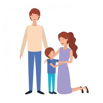 Couple de parents avec personnage avatar fils