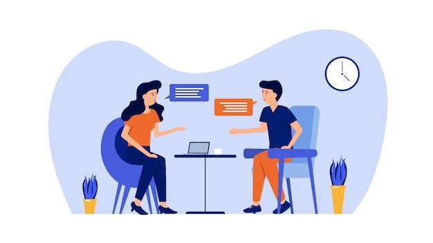 Couple parlant et discutant avec illustration de bulle de dialogue