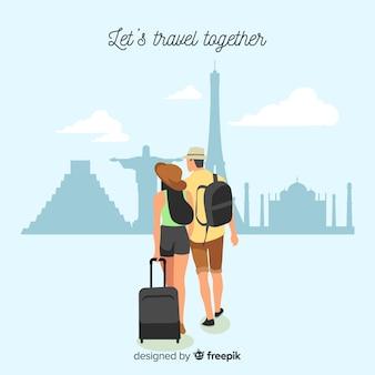 Couple partant en voyage