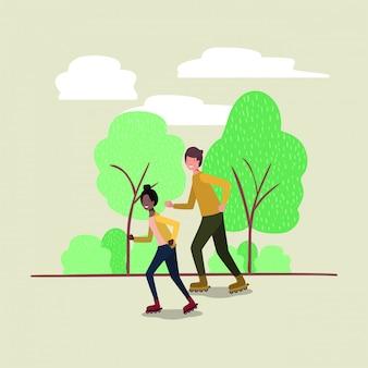 Couple, patins, dans parc
