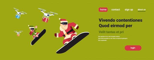 Couple père noël elfe faire sauter sur snowboard drone delivery