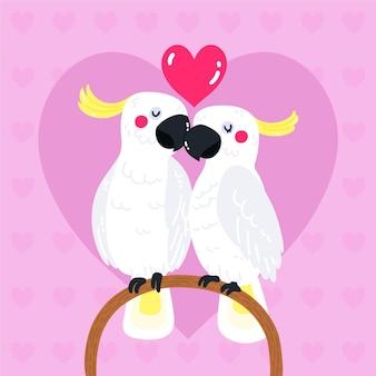 Couple de perroquets dessinés à la main pour la saint-valentin