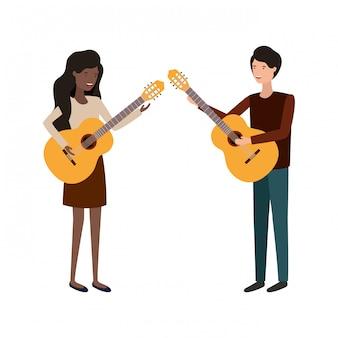 Couple avec personnage avatar d'instrument de musique