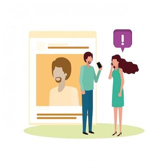 Couple avec personnage avatar de profil de réseau social