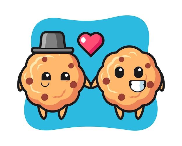 Couple de personnage de dessin animé de biscuit aux pépites de chocolat avec le geste de tomber amoureux