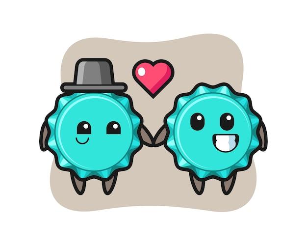 Couple de personnage de dessin animé de bouchon de bouteille avec le geste de tomber amoureux